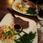A delicious meal served by a real sweet gal! Prime Rib Special & Flat Iron steak!