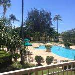 View from the balcony of our room of the pool area and grounds