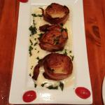 Bacon wrapped scallops, steamed feast and seafood bake