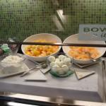 Breakfast buffet fruit, eggs, cottage cheese