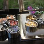 Breakfast buffet pastry toppings