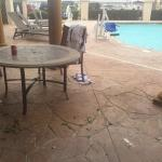 Hot tub out, pool area dirty, wifi intermittent, room wasn't cleaned, bed left unmade (no flat s