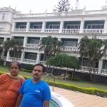krishna and bharathi infront of swiming pool of lalaith mahal palace