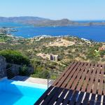 View from the middle floor balcony/terrace. Mirabella bay and Elounda town.