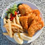 Outdoor heating for the cooler months, classic fish & chips with salad, pineapple fritters cooke