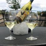 "Enjoy chilled bottle of ""Chicken DInner"" white on patio"