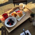 A sample of breakfast on the outdoor patio.