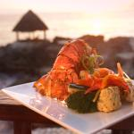 Grilled Lobster, with lightly sautéed vegetables, in the Lodge at sunset