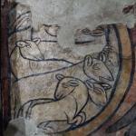 le pecorelle felici nell'ovile, particolare dell'affresco dell'XI secolo con il miracolo del mon