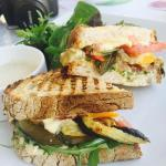 Grilled Cheese Sandwich + Grilled Vegetable and Hummus Sandwich