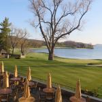 View of the 18th green of the Leatherstocking Golf course.