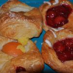 Free breakfast includes yogurt, fruit, coffee, juice and these awesome locally made pastries