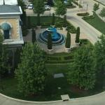 A view of the fountain from our room. The water was blue because of the St. Louis Blues game.
