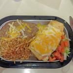 Chicken chimichanga, rice and beans