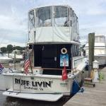 Our 32' Trojan docked at Smithfield Station
