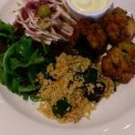 Beautiful Cod Fritters with citrus Mayo and loads of lovely salad!