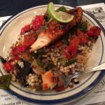 Grilled Salmon and Vegetables on Quinoa