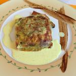 Pastilla stuffed wiith courgette and mussels, with a lightly flavoured curry sauce