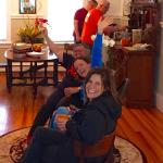Hanging by the fire enjoying coffee and muffins!