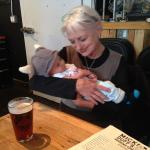 Meeting friends with new baby at MickDuff's