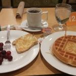 Hotel breakfast. The waffle was delicious!