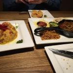 Shrimp & Chorizo risotto and Beef Fajitas