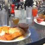Chimichanga and taco salad with drinks--patio dining