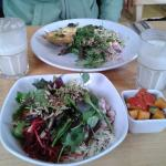 Salads and vegan banana milkshakes