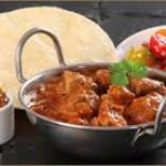 balti dish with papadums