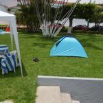 Super comodo haber llevado un techo y una casita de campaña para descansar