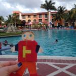 Flat Stanley looking at the pool. Nice and big!!