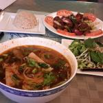 Bun Bo Hue with all trimmings and Shaking Beef with Brown Rice