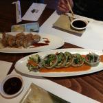 Yanagi boat, green salmon roll and crunchi roll