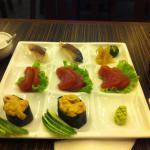 sushi and sashimi nicely presented