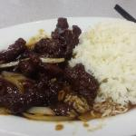 Szechuan Beef with steamed rice