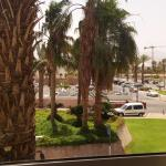View from room 211, overlooking the hotel's driveway entrance