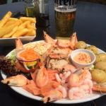 Seafood platter with side of chips