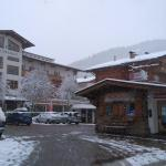 front of hotel and ski equipment hire place next door