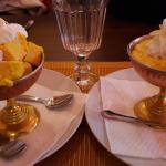 Mango sorbet and mango mousse - both excellent