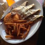 Steak quesadillas, rice, fries