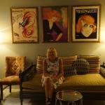 Jen waiting in La Jardinier french restaurant