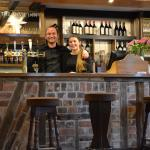 Mark and Alice behind the bar at the Anvil Inn Pimperne.