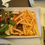Grilled red emperor, chips and salad