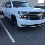 One family's misfortune - wheels stolen off their truck while parked on hotel lot.