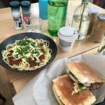 Spaghetti and sandwich