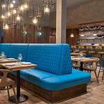 Banquette seating and main bar