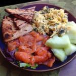 Scrambled Organic Eggs & Salmon