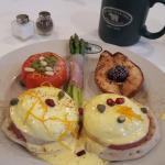 Sunday Brunch - Flawless Eggs Benedict with poached Pear, Asparagus, and Tomato Basil