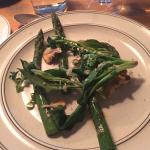 Asparagus with Maitake mushrooms, spinach and horseradish (leaves and freshly shredded at the ta
