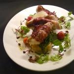 Ardglass monkfish wrapped with chorizo on crushed potatoes and lemon balm. Beautiful!!😊